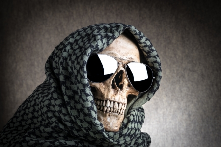 shemagh: Human skull with shemagh cloth Stock Photo