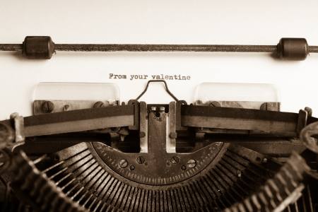 Valentines message type on old typewriter photo