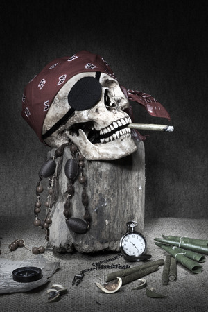 Still Life Pirate Skull With Cigar In The Mouth Compass On Ancient Map
