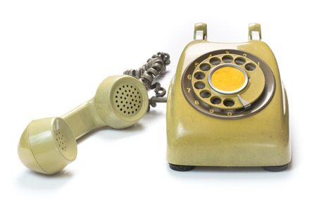 dialplate: Old telophone isolated on white background