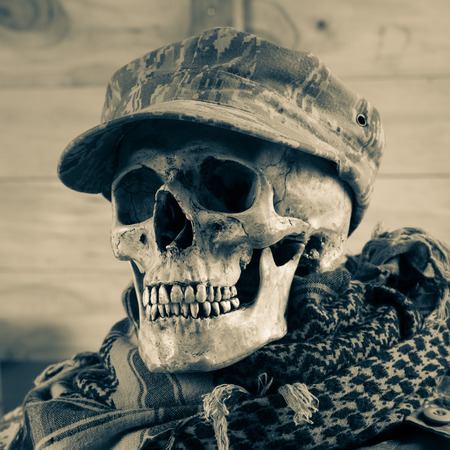 Skull soldier with shemagh cloth photo