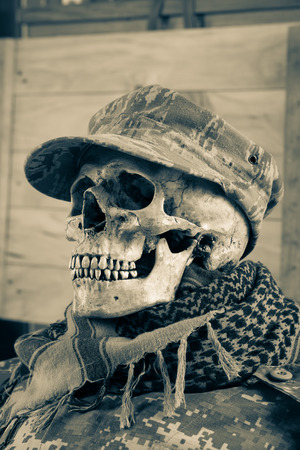Skull soldier with shemagh cloth Stock Photo - 26873302