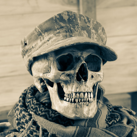 shemagh: Skull soldier with shemagh cloth Stock Photo