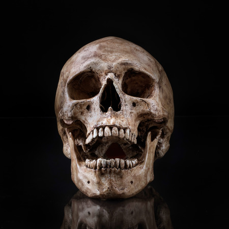 death metal: frontview of human skull open mouth reflect on isolated black background