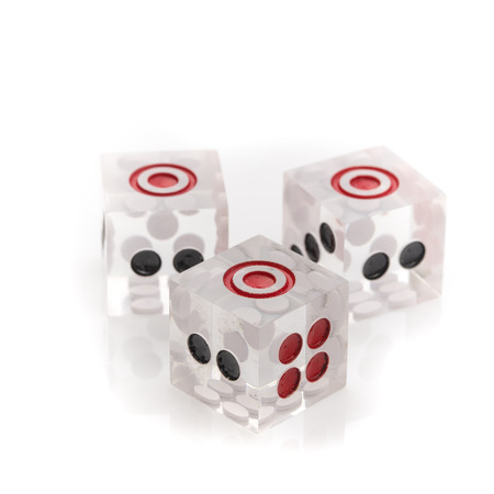 odds: Transparent dices on isolated white background Stock Photo