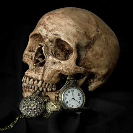 Still life, human skull with antique pocket watches photo