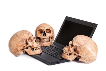 Three human skulls placed on laptop isolated white background photo