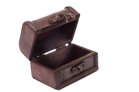 Small vintage wooden box open on isolated white background photo