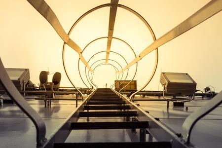 ladder safety: Steel ladder in battle ship Stock Photo