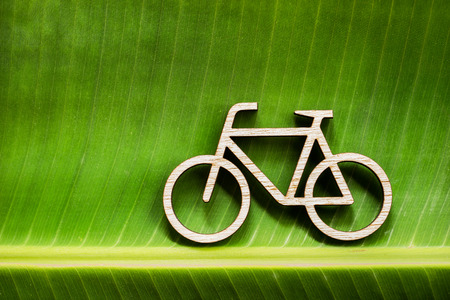 Wooden bicycle toy on green banana leave photo