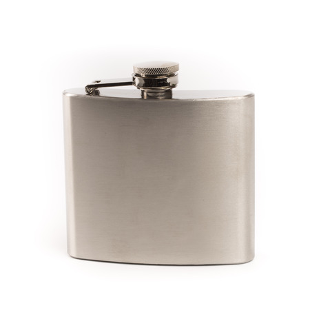 hip flask: Stainless hip flask on isolated white background