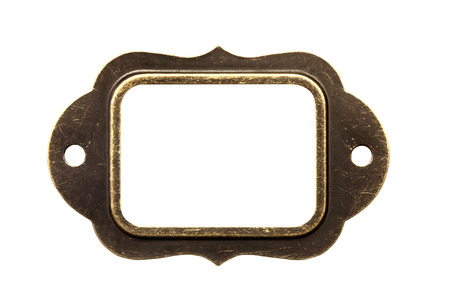 Antique brass name plate, isolated photo