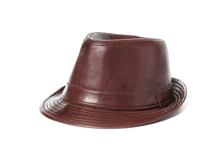 brown leather hat: Brown retro leather hat on isolated white background Stock Photo