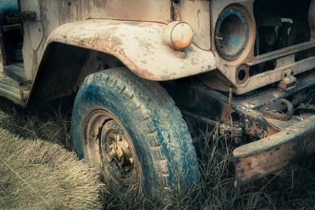 rusty car: Old rusty car in the farm