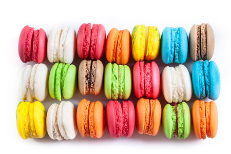 Colourful tasty macaroons in a row Stock Photo