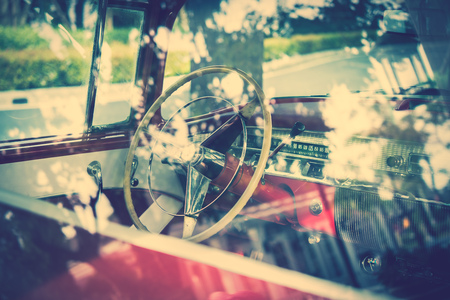 petrolium: Elements of old luxury car see through window glass, vintage effect