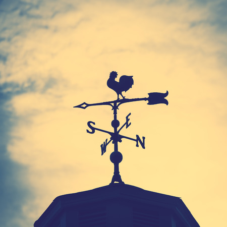 Rooster weather vane on a rooftop with an arrow and North-South pointer to show the direction of the wind against a hazy blue sky, vintage style