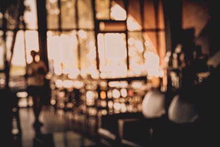 Blur of Defocus beeld van Coffee Shop of cafetaria voor gebruik als achtergrond Stockfoto
