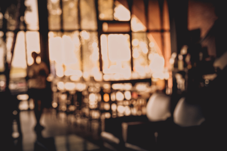 Blur or Defocus image of Coffee Shop or Cafeteria for use as Background