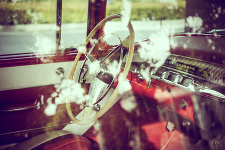 see through: Elements of old luxury car see through window glass, vintage effect