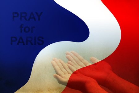 all saints day: Empty female open human hands prayer with palms up in France color flag background, Pray for Paris, France support, aid, destiny and help concept campaign: All saints day