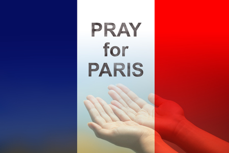 frence: Empty female open human hands prayer with palms up in France color flag background, Pray for Paris, France support, aid, destiny and help concept campaign: All saints day