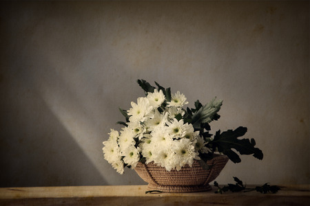 antique table: Still life with beautiful white flowers