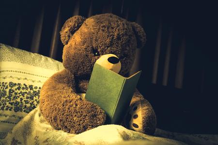 곰은 빈티지 스타일로 침대에서 책, 효과를 읽고