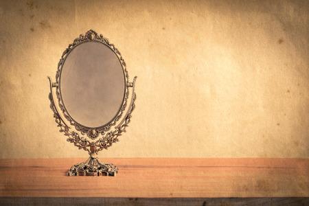 old desk: Vintage old desk mirror frame. Vintage style