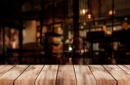 coffeeshop: Empty top of wooden table or counter on cafeteria, bar, coffeeshop background. For product display