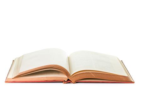 Abierto libro antiguo aislado fondo blanco Foto de archivo - 84930788