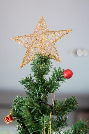 Christmas tree decoration background Stock Photo