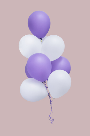 Group of white and purple balloons isolate on pantone background with clipping path, easy for change background Stock Photo