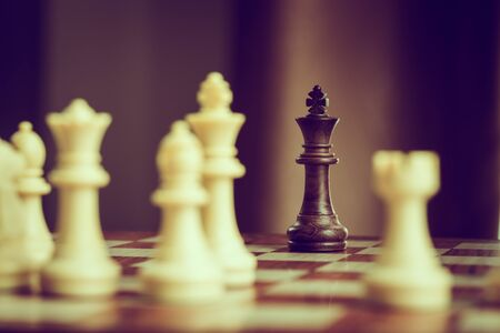 chess board game competition presented the business concept with blurred background