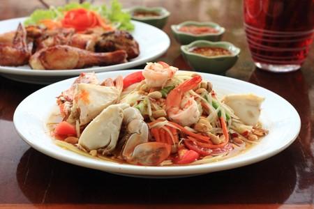 Somtum & Grill Chicken, Thai style food. photo