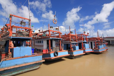 Fishery boat on port in Rayong, Thailand. photo
