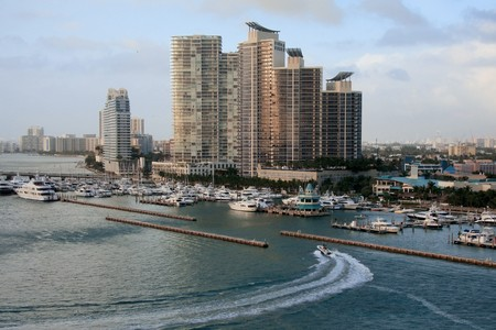 Miami city and bay front, Florida, USA.