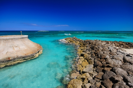 Paradise beach in Nassau city , Bahamas.