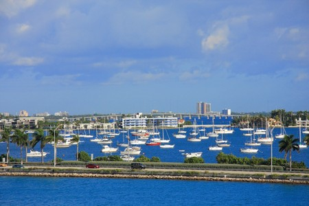 yacht ship on the sea in Miami ,Florida , USA. photo