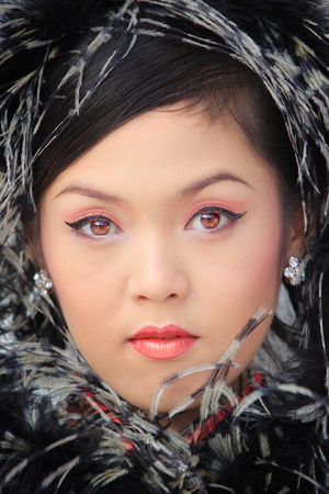 Young lady in black traditional chinese dress , Thailand. Stock Photo - 9018871