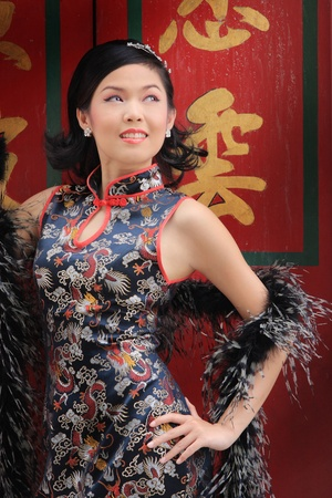 Young lady in black traditional chinese dress , Thailand. Stock Photo - 9018896