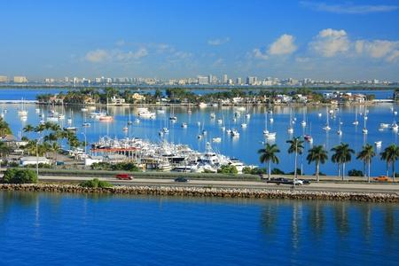 sunny south: yacht ship on the sea in Miami ,Florida , USA.