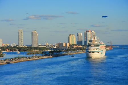 Vacation day in Miami with funny ship . Editorial