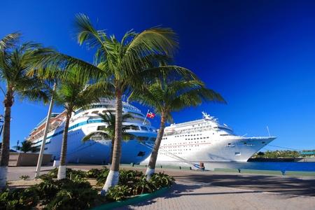 commercial dock: Bahamas pier landscape in Nassau city , Caribbean