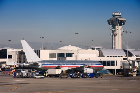 LA Air port on runway and terminal, Los Angeles, USA