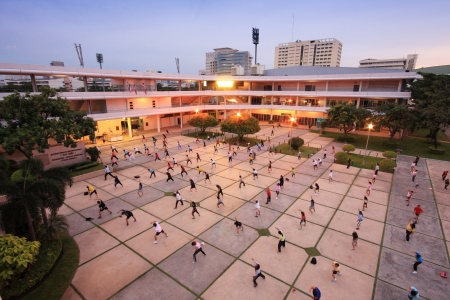 Aerobic activity at Thai-Japan youth center in the evening, Bangkok , Thaialnd.