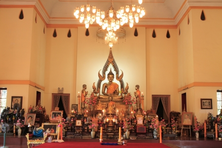 reverence: buddha statue inside temple hall in Rayong, Thailand. Editorial