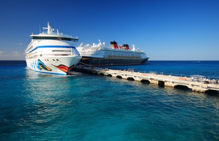 Cozumel pier with ship in  mexico Stock Photo