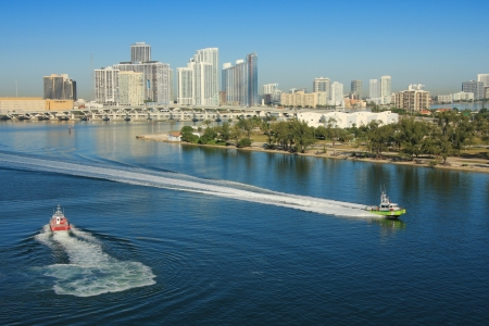 Miami in day time and shore gard boat, USA. photo