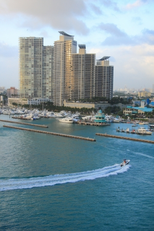 yacht ship on the sea in Miami, USA